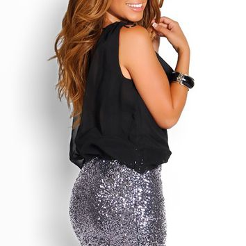 Black and Charcoal Silver Sequin Drapey Sleeveless Party Dress