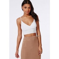 Jersey Wrap Over Bralet White - Tops - Bralets - Missguided