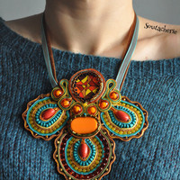 Soutache necklace, statement necklace, soutache jewelry, colorful necklace, boho chic necklace, oversized necklace, collier, halskette