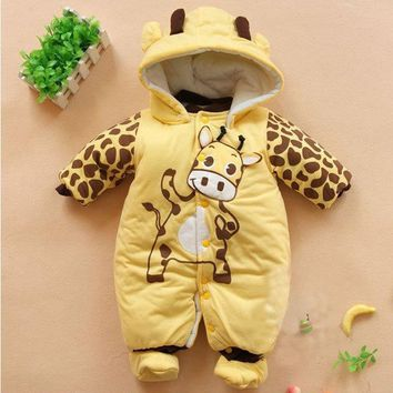 Winter Baby Boys Girls Romper Clothing For Babies Cute Animals Cartoon Thicken Warm Jumpsuits Costume Newborn Mameluco Bebes