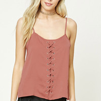 Satin Lace-Up Cami