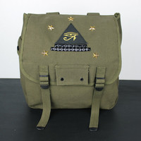 Studded Army Musette Backpack with Eye of Ra Patch - Free US Shipping