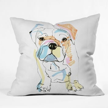 Casey Rogers Bulldog Color Throw Pillow