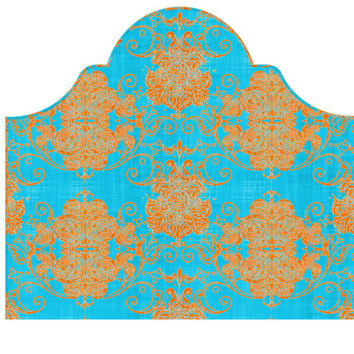Wall Decal Headboard - Swirly Damask - Turquoise and Orange - Twin - Lite version Headboard