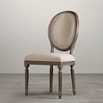 Vintage French Round Upholstered Armchair