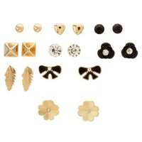 Gold Clover & Feather Stud Earrings - 9 Pack by Charlotte Russe