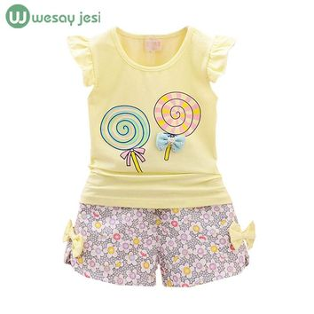 Girls clothes summer fashion toddler girls clothing sets flowers bow print t-shirts+ shorts suit sports kids clothes outfits