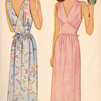 1940s Misses Long Sleeveless Negligee Nightgown  Vintage Sewing Pattern, McCall 5784 Bust 30""