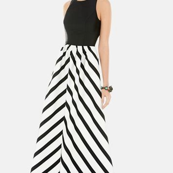 Women's Alfred Sung Stripe Skirt Sleeveless Sateen Twill Gown,