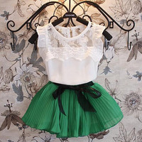 2014 Summer Children Clothing Girls 2pcs Sets Kid Short Sleeve Lace T Shirt Tops + Bow Pleated Skirt Outfit Kids Girl Sweet Outfits.
