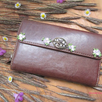 brown wallet, vintage wallet maroon wallet, flower lace, coin purse, card case, purple lace, woodland wallet, rustic purse