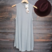 high neck boho striped women's t shirt tank mini dress - white