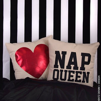 Nap Queen - Natural Canvas Cotton Pillow Cover - Home Goods House ware - Decorative Pillow Cover