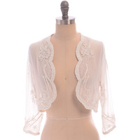 UK14 US10 White Cream Bolero Jacket Shrug Cape Hand made Wedding Flapper Beaded Great Gatsby Vintage inspired Art Deco Robe Charleston New