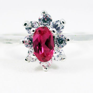 Small Ruby Oval Halo Ring, 925 Sterling Silver, July Birthstone Ring, Ruby Halo Ring, White CZ Halo Ring, Engagement Ring