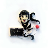 Louise Brooks polymer clay brooch black and white flapper