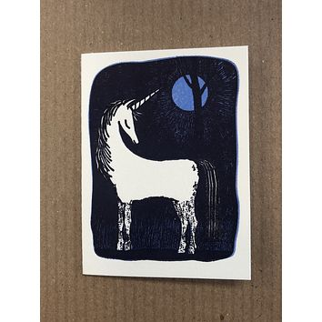 Unicorn in the Moonlight Enclosure Card