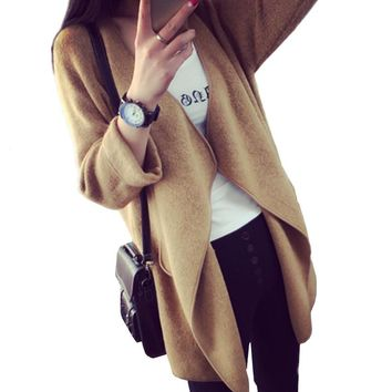 Autumn Women Coat Jacket Cashmere Outerwear & Coats Female Wool Blend Warm Cloak Knitting Shrug Poncho Knitted Cardigan Overcoat