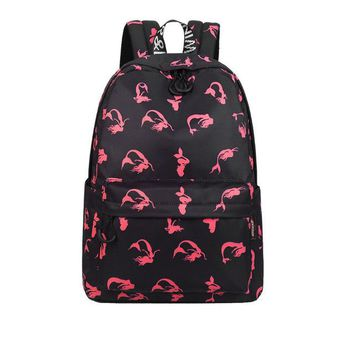 Girls bookbag Fashion Waterproof Fabric Women Backpack Cute Mermaid Pattern Printing Large Capacity Girls Lady Large Capacity Travel Bookbags AT_52_3