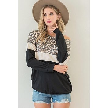 Black and Oatmeal Colorblock Leopard Top in PLUS