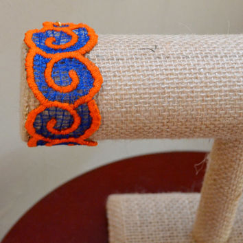 UF Gator Orange and Blue Embroidered Lace Bracelet Gift - Bridesmaid Gift -  Best Friend Gift - UF Alum Gift- UF Fan -Mother's Day Gift