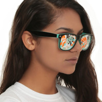Tropical Perforated Lens Retro Sunglasses