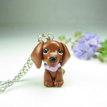 Red Dachshund Charm or Pendant - dachshund jewelry , dog jewelry , key chain polymer clay