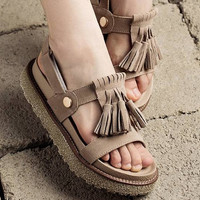 3 colors Handmade Women'S Soft Leather Platform Sandals With Personality fringes,Summer Fur Sandals,Thigh High Velcro Sandals,Designer Shoes