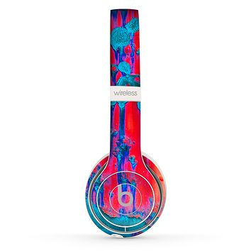 The Bright Red v2 Metal with Turquoise Rust Skin Set for the Beats by Dre Solo 2 Wireless Headphones