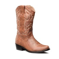 LARA's Womens Western Cowboy boots Mid Calf Fashion Tan US 8