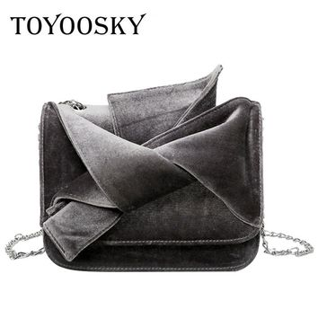 TOYOOSKY Women's Bag Velvet Luxury Handbags Women Bags Ladies Party Purse And Clutches Bow Velour Crossbody Shoulder Bags