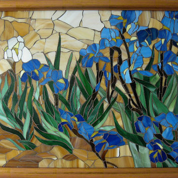 "Stained glass mosaic.""Irises"" Vincent van Gogh."