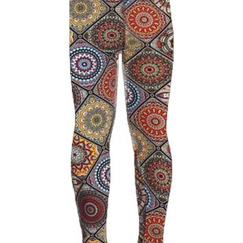 Girls Mosaic Leggings Medallion Multi-Colored: S/L