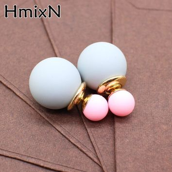 New cute two Faced stud Earring with simulated Pearl ball double side earring Korea Front Back statement party jewelry For Women