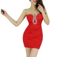 Women's Sexy Rhinestone Strapless Close-fitting Ruffle Clubwear Cocktail Mini Dress (Red)