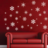 Winter Wonderland Snowflake 6 pack  3 inch Removable wall decal FREE SHIPPING
