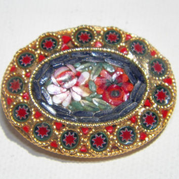 Vintage Vibrant Micro Mosaic Floral Brooch. Mid Century Jewelry. Vintage Jewelry. Multicolor Brooch.