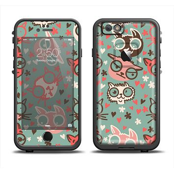 The Vector Cat Faced Collage Apple iPhone 6 LifeProof Fre Case Skin Set
