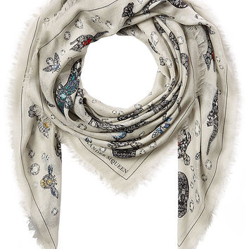 Alexander McQueen - Jeweled Skull Print Scarf with Silk