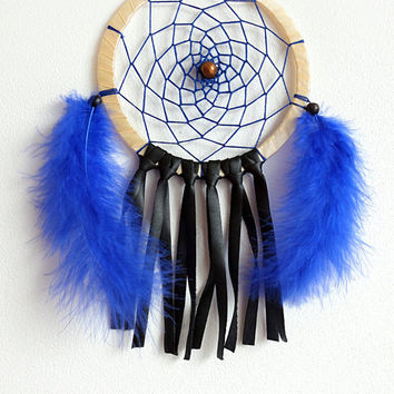 DreamCatcher, Boho Dreamcatcher, Handmade, Wall Hanging, Home Decor, Feathers ,Colourful Dreamcatcher, Coloured ,Gypsy, Blue color