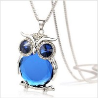 Owl Collection Silver and Swarovski Crystal Featuring BLUE Eyes Blue Belly