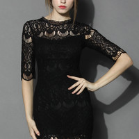 Baroque Full Lace Shift Dress in Black Black