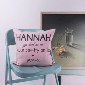 'You Had Me At' Personalised Cushion Cover