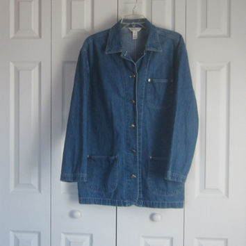 Vintage Denim Jacket, Womens Long Jean Jacket, Van Heusen Denim Coat, Size M Medium, Hipster Outerwear, Casual Jacket