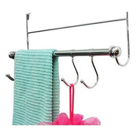 Bathsense Over The Door Sliding Hook/Towel Bar Combo, Chrome