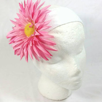Pink Daisy Flower Wide White Cloth Headband/Fashion Floral Headband