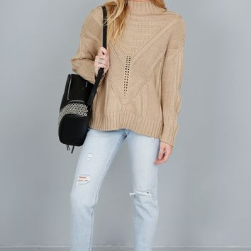 Sitka Mock Neck Sweater - Taupe