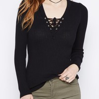 Navy Lace-Up Sweater   Sweaters   rue21