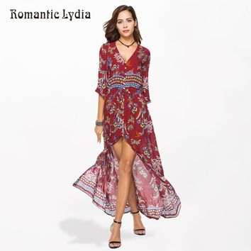 2018 Summer Women Boho Chic Floral Party Long Dress Bohemian Beach Sundress Tunic Fashion Vestidos Plus Size 3XL 4XL 5XL