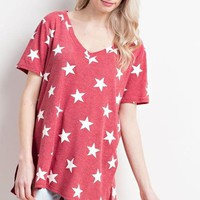 Red Star Print Thermal V-Neck Top